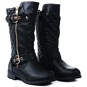 Kids Girls Mango21 Black Dual Buckle/Zipper Quilted Mid Calf Motorcycle Boots-1