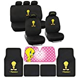 Tweety Seat Cover, Carpet Floor Mat and Sun Shade - Warner Brothers 14 Piece Full Interior Protection Auto Accessories