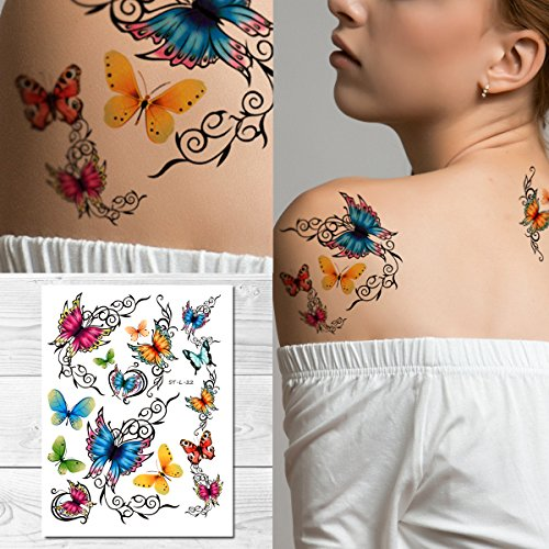 Supperb Temporary Tattoos - Elegant Colorful Butterflies Tattoo -