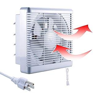 "SAILFLO Exhaust Shutter Fan 8 Inch 300 CFM, 2 Directions Reversible Blower, Strong Airflow Ventilation for Bathroom Attic Kitchen Window Basement, 8"" Diameter Propeller-12""×12""Panel"