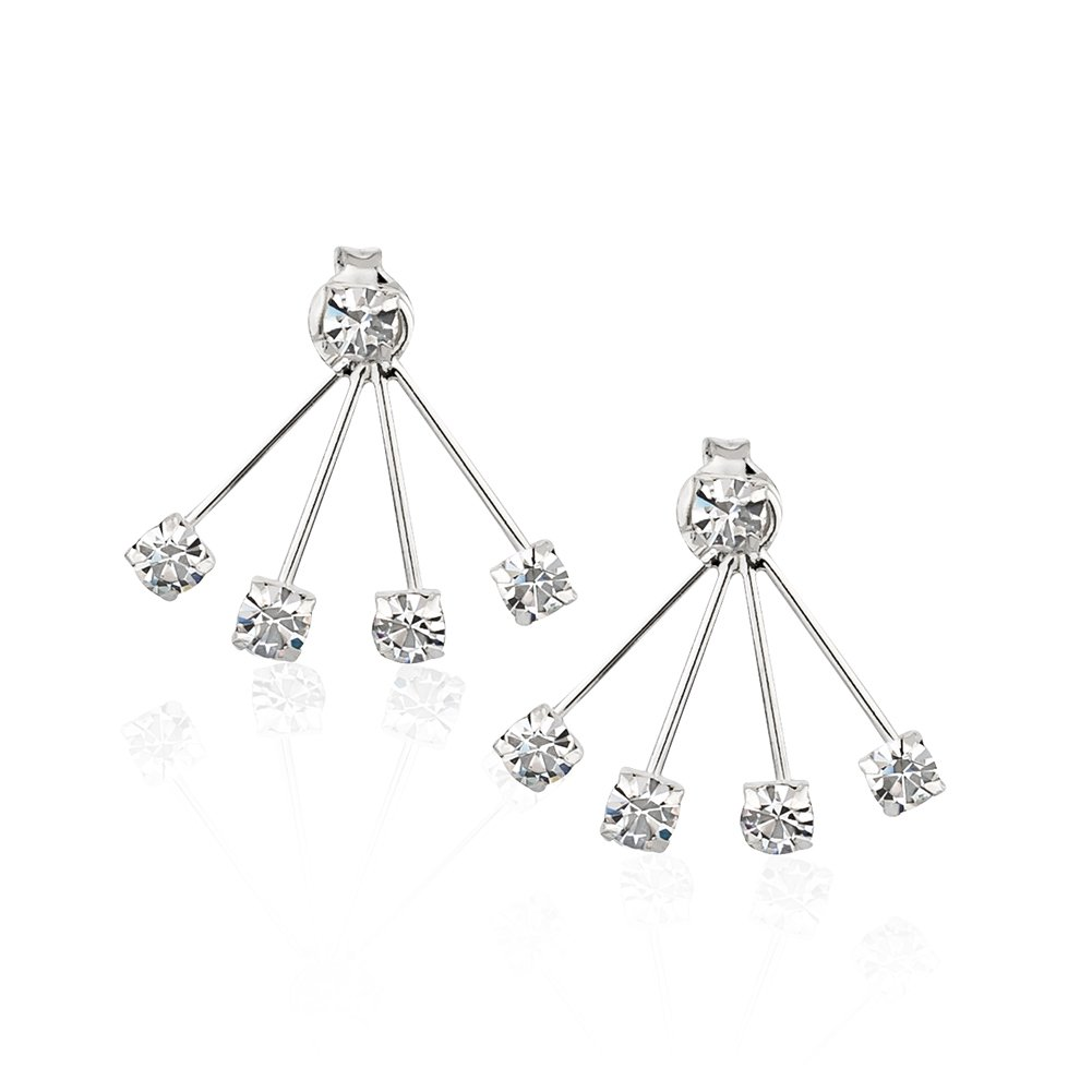 925 Sterling Silver Round Crystal Glass Front Back (4) Prong Ear Jacket Set of Earrings, 3mm Stones