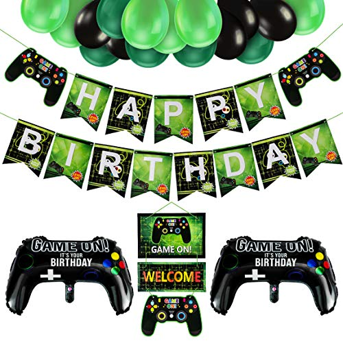Video Game Party Supplies,Birthday decorations for Boys Happy Birthday Banner and Balloons for Gaming Theme Party Kids Baby Boys Birthday Decor Kit Video Game Controller Aluminum Foil Balloon