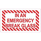 StickerTalk in an Emergency Break Glass Vinyl Sticker, 3.5 inches by 2 inches