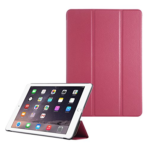 iPad Air 2 Case, ULAK Smart Case Cover with Trifold Stand and Magnetic Auto Wake & Sleep Function for iPad Air 2 / iPad 6th Generation 9.7 inch (Rose red)
