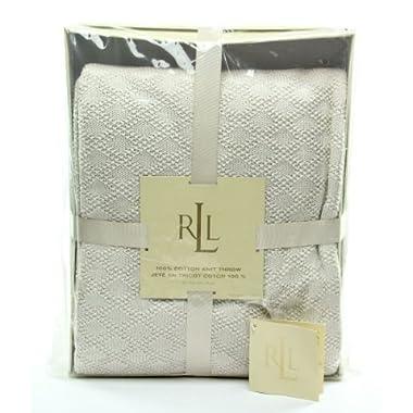 Lauren Ralph Lauren 100% Cotton Knit Throw Blanket in Hollywood Cream
