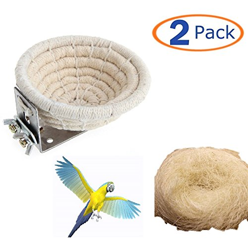 51EK4zO3ZeL - Bird Nest Handmade Cotton Weave Hemp Rope Nests Birds Breeding Hatching Nest Parrot Nesting Box Cage Hatch House Hut Cave Raffia Fiber for Parrots Budgie Parakeet Cockatiel Parakeet Conure(Pack of 2)