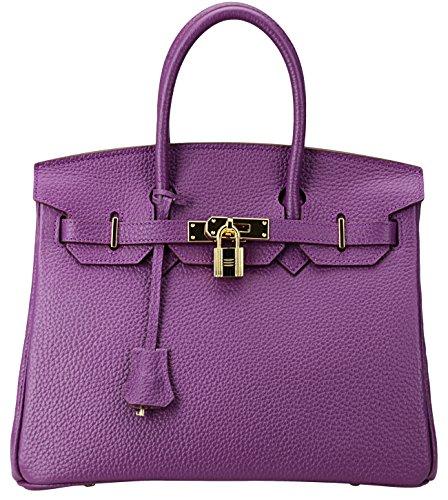 Cherish Kiss Women's Classic Genuine Leather Tote Padlock Handbags H30 (30CM, Purple) by Cherish Kiss