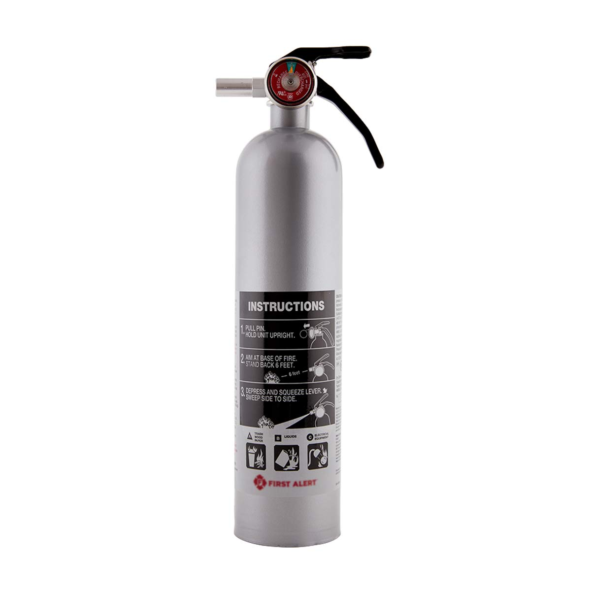 Rechargeable DHOME1 Designer Home Fire Extinguisher UL A: 10-B: C (Pewter)