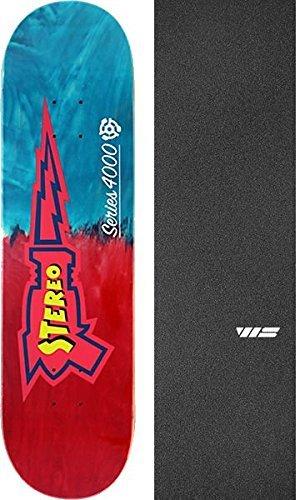 帰するインストラクター王位ステレオRaygun 4000 Skate deck-8.25ブルー/レッドFade W/Mob Grip