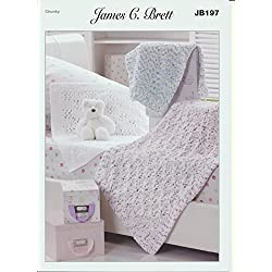 James C. Brett Knitting Pattern Children's Woollen Blankets in Flutterby Chunky Yarn (JB197)