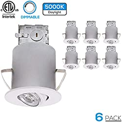 TORCHSTAR Recessed Lighting Kit: 3-Inch ETL-listed Airtight IC Housing + White Swivel Trim + LED Dimmable GU10 Light Bulb (Daylight), Rotatable Spotlight, Decorative Retrofit Downlight, Pack of 6