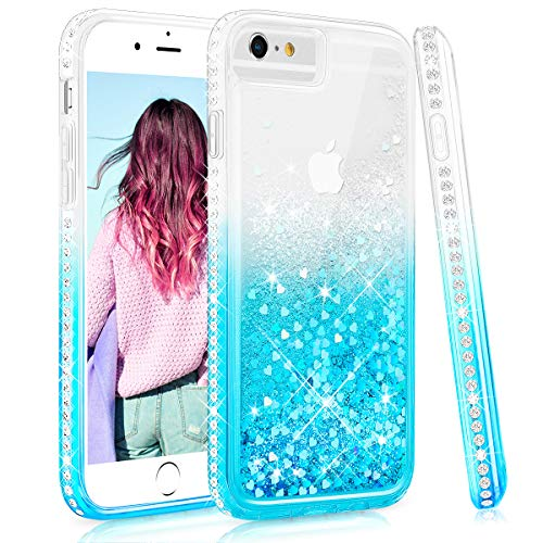 Maxdara Case for iPhone 6 iPhone 6s Glitter Case Liquid Gradient Series with Screen Protector Bling Sparkle Rhinestone Diamond with Soft TPU Protective Women Girls Case for 6 6s 4.7 inches (Teal) ()