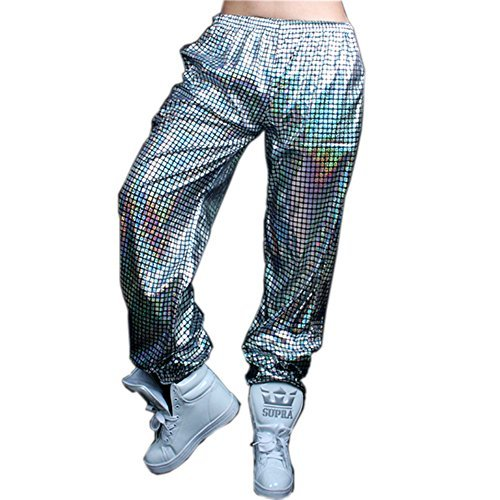 Anlydia Night Club Metallic Hologram Shiny Pants Party Trousers, Silver L