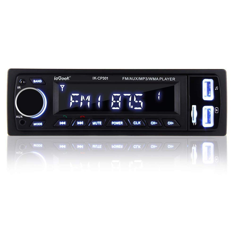 [Améliorée] ieGeek Autoradio avec Mains Libres Bluetooth, autoradio stéréo numérique Radio de Voiture, Lecteur multimédia USB / MP3 / WMA/WAV/TF/FM Récepteur, autoradio Universel Single Din product image