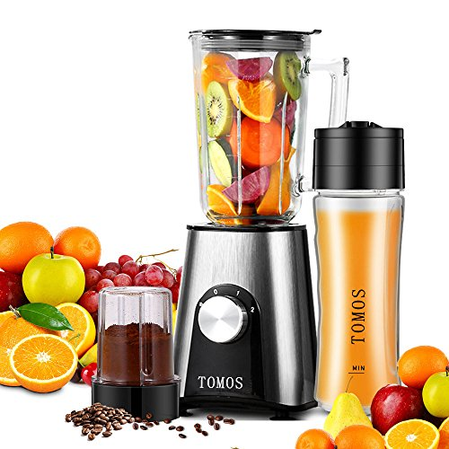 Juice Smoothie - Tomos Smoothie Blender, 300w Personal High Speed Blender for Shakes, Smoothies and Juice with 700ml Glass Jar and Travel Sport Vacuum Bottles