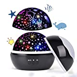 Upgrow Baby Night Light, 2 in 1 LED Starry Light Projector Lamp Ocean Wave Projector, 8 Colors 360° Rotating Baby Projector Lights for Kids Bedroom Decoration (Black)