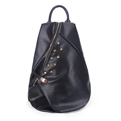 Meaeo Nuevo Señoras Mochila Trend Pu Bag School Estilo Bolsa Mochila De Viaje De Ocio,Capacidad Violeta black