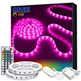 LED Strip Light, Govee 32.8ft RGB Light Strip Kit with Remote and Control Box for Room, Ceiling, Bedroom, Color Changing Rope Light SMD5050 with Strong 3M Adhesive and Cutting Design 12V Power Supply