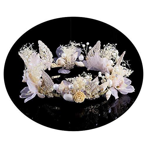 (AWAYTR Crown and Tiara Flower Headband Simulation Seashell Princess Flower Crown Pearls Headband Bridal Wedding Headwear)