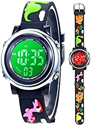 Toddler Kids Digital Watches,3D Cute Cartoon 7 Color Lights Waterproof Sport Electronic Wrist Watch with Alarm