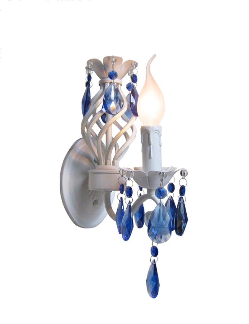 Energiesparende verstellbare Wandleuchte - weißes Eisen Wandlampe Blauer Kristall Wandlampe Wohnzimmer Gang Schlafzimmer Wandlampe (Nicht die Lichtquelle einschließen) (Größe   10.5CM)