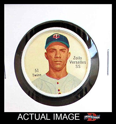 Salada Baseball Coins (1962 Salada Coins # 51 RED Zoilo Versalles Minnesota Twins (Baseball Card) (Red Buttons on Shirt) Dean's Cards 5 - EX)