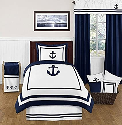 Amazon Com Sweet Jojo Designs Navy And White Twin Bed Skirt For