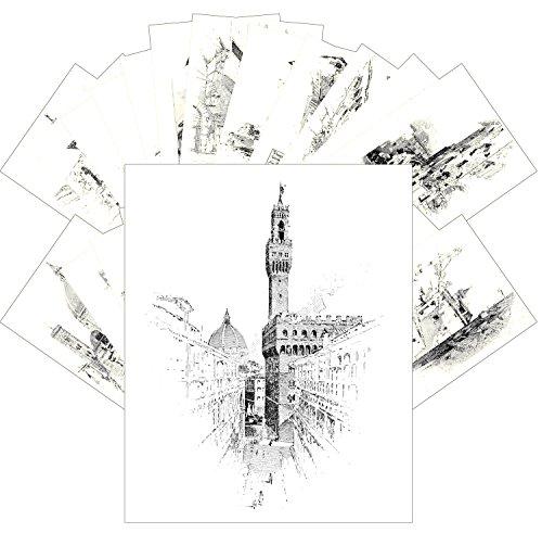 Postcard Set 24pcs Pen drawings of Florence Vintage Book Engraving Illustration by Herbert Railton ()