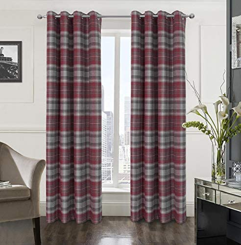 Alexandra Cole Plaid Textured Grommet Curtain Set of Two Panels