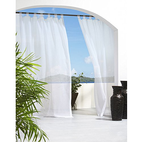 Outdoor Decor Escape Tab Top Curtain Panel-White, 54 x 108