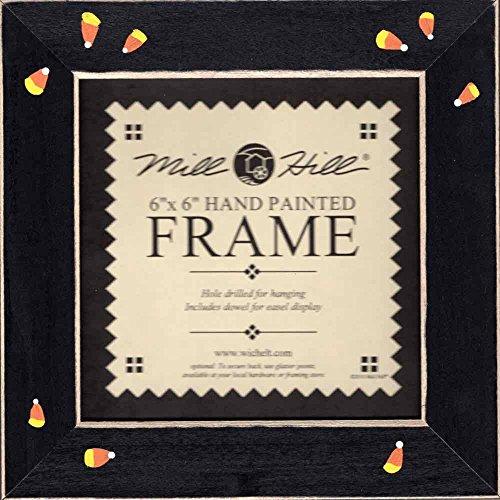 Matte Black Candy Corn Wooden Frame 6 x 6 Hand Painted Mill Hill GBFRFA4]()