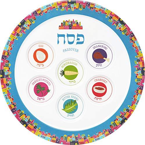 """Passover Seder Plate Melamine (Single, Seder Plate Jerusalem Design 12"""")"""