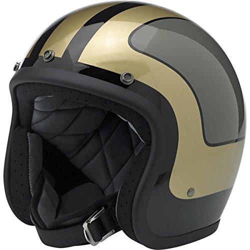 Biltwell Bonanza Fury Open Face Helmet Gloss Black Gray Metallic Gold X-Small