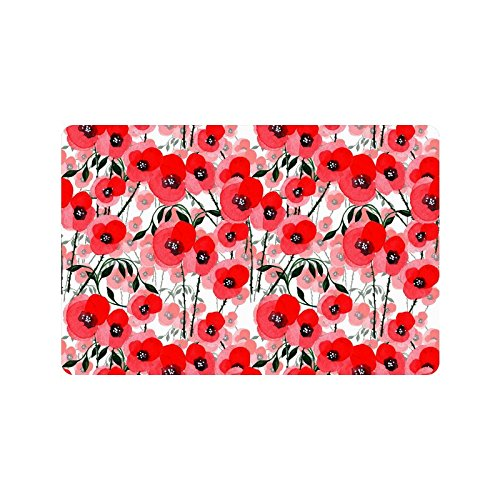 InterestPrint Poppy Flower Pattern Non-Slip Indoor And Outdoor Door Mat Rug Home Decor, Entrance Rug Floor Mats Rubber Backing, 23.6