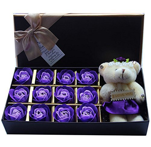 (Rosesoap 2015 Hot Sales,12Pcs/Box Romantic Rose Soap Flower With Little Bear, Great For Valentine's Day Gifts/ Wedding Gift/birthday Gifts (purple2))