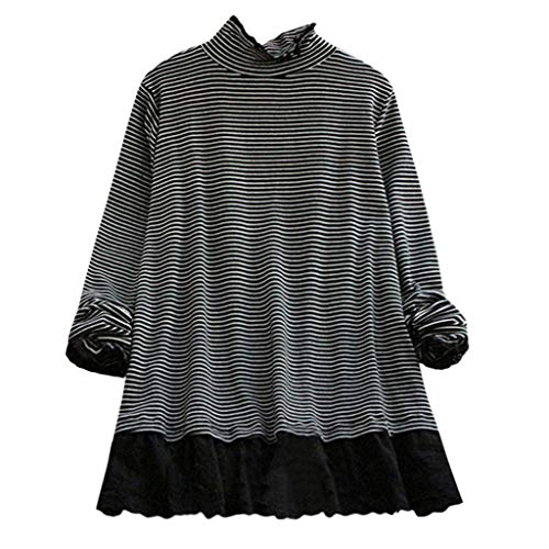 Penn Rugby Striped - Snowlily Blouse for Women,Summer Casual Fashion Printed Large Size High Collar Lace Crochet Striped Top Elastic Shirt Black