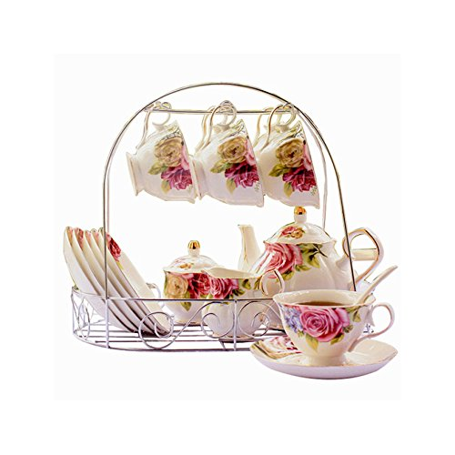 ufengke 15 Piece European Bone China Coffee cup Set, Ceramic Porcelain Tea Cup Set With Metal Holder, Tea Gift Sets, Red And Purple Flower Painting - China Gift Set