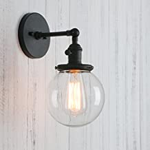 """Permo Vintage Industrial Wall Sconce Lighting Fixture with Mini 5.9"""" Round Clear Glass Globe Hand Blown Shade (Black)"""