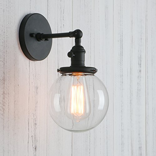 Hand Blown Clear Glass - Permo Vintage Industrial Wall Sconce Lighting Fixture with Mini 5.9