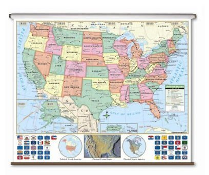 Primary Wall Map - US Primary Classroom Wall Map on Roller