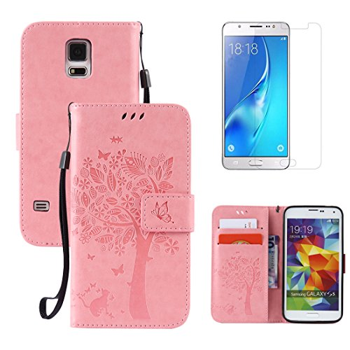 Price comparison product image for Samsung Galaxy S5 / S5 Neo Full Body Case and Screen Protector , OYIME [Pink Cute Cat and Butterfly Tree] Design Wallet Leather Kickstand Magnetic Holster with Card Holder Protective Flip Cover