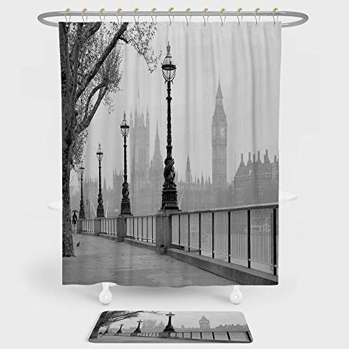 iPrint London Shower Curtain And Floor Mat Combination Set Big Ben from Walking Way by Thames River With Lanterns Under the Rain Image For decoration and daily use Grey Black (31 Black Polycarbonate Lanterns)
