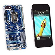Graphics and More Blue Computer Motherboard - Snap-On Hard Protective Case for Apple iPhone 5/5s - Non-Retail Packaging - White