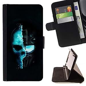 For LG G4 Stylus / G Stylo / LS770 H635 H630D H631 MS631 H635 H540 H630D H542 Case , Azul de Techno Techno cráneo- la tarjeta de Crédito Slots PU Funda de cuero Monedero caso cubierta de piel
