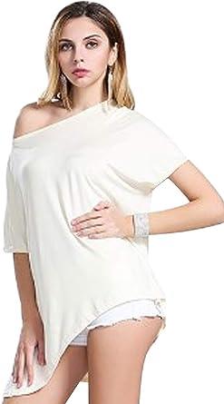 Landove Blusas Sin Hombros Mujer Moda Camiseta Verano Casual Suelto Manga Corta T Shirt Pullover Tunica Tops Lisos: Amazon.es: Ropa y accesorios