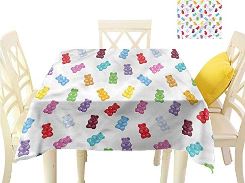 Davishouse Fabric Dust-Proof Table Cover Vibrant Sweet Gummy Bears Washable Polyester - Great for Buffet Table, Parties, Holiday Dinner, Wedding & More W60 x L60