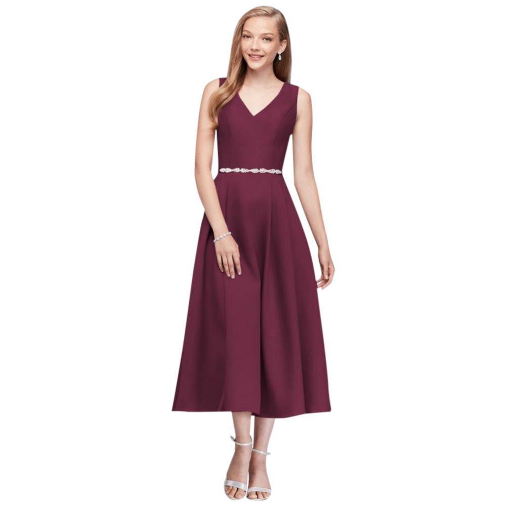 David's Bridal V-Neck Mikado Tea-Length Bridesmaid Dress ...
