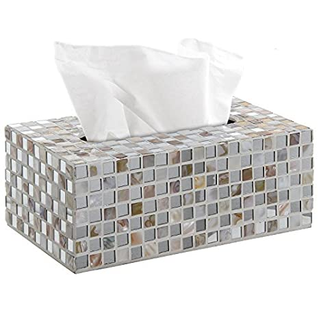 White Contemporary Glass Mosaic Tiled Design Facial Tissue Holder / Decorative Napkin Box Cover - MyGift® Napkin Holders at amazon
