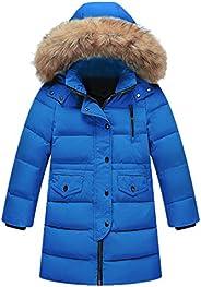 Beide Kids Girls Boys Winter Down Coat Puffer Long Jacket Outwear with Fur Hood