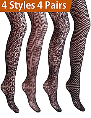 VERO MONTE 4 Styles Women Fishnet Tights Patterned Fishnets Stockings Small Hole